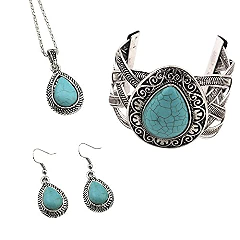 Contever® Attactive Jewellery Vintage Turquoise Necklace Earrings Bracelet Set for Women - Water Drop Shaped
