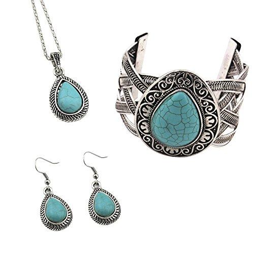 Contever® Attractive Bijoux Set Vintage Collier Turquoise Boucles D'oreilles Pour Les Femmes - Goutte d'eau en forme Goutte d'eau en forme