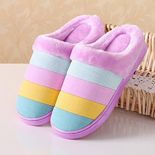 YMFIE Semplice striscia di colore signori uomini pantofole di cotone coppie scarpe indoor antiscivolo pantofole termica C