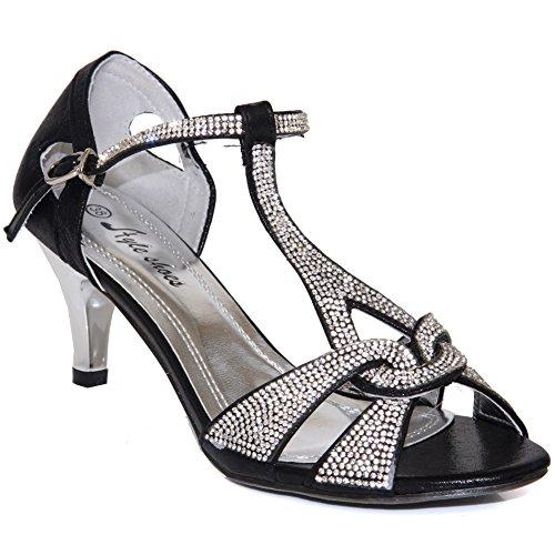 Unze Sandales Décoré Mode Femmes Gerry Noir