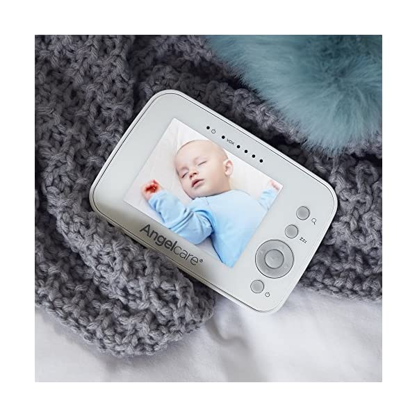 """Angelcare AC215 Baby Movement Monitor, with Video Angelcare Portable parent unit with 3.5"""" lcd colour display Wired under-the-mattress movement sensor pad Movement and room temperature alerts 4"""