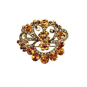 Unbekannt Elegante Braut Strass Kristall Brosche mit Anstecknadel Farbe: Gold (BR049)