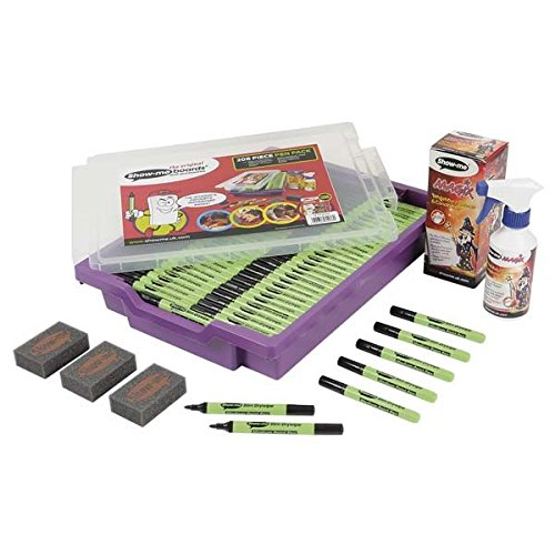 show-me-dry-wipe-pens-in-gratnells-tray-black-200-medium-tip-pens-6-mini-foam-erasers-and-250ml-bott