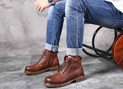 Uomini Britannico Moda Stivali Martin Autunno Inverno All'aperto Impermeabile Tooling Stivali Caldo Stivali Da Neve In Cima Cotone Scarpe Brown