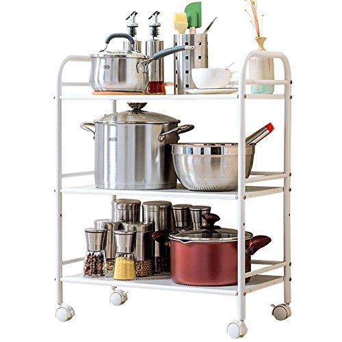 GYP Estante de almacenamiento de la cocina, ahorre el espacio de la manera simple Estantes del horno Estante de almacenamiento del condimento blanco de tres capas Multifuncional del acero inoxidable Tamaño: los 60 * 32 * 75cm ( Tamaño : 60*32*75cm )