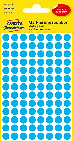 AVERY Zweckform 3011 selbstklebende Markierungspunkte (Ø 8 mm, 416 Klebepunkte auf 4 Bogen, runde Aufkleber für Kalender, Planer und zum Basteln, Papier, matt) blau
