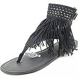WHLShoes Damen-Sandalen Flache Sandalen Mode Sommer Lady Open Toe Strass Flip-Flops Casual Joker Schwarz 38