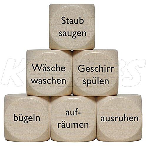 "1x ""Haushalts""-Würfel, Holzwürfel"