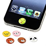 6 pieces Home Button Cute Animal Smile Sticker Set New For iPhone 3G 3GS 4 4G 4S