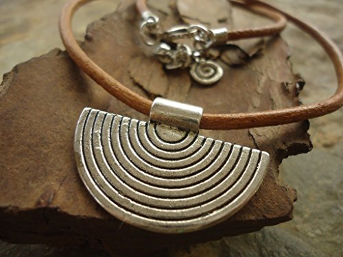 -leather-necklace-with-spiral-pendant-sand-or-dark-brown