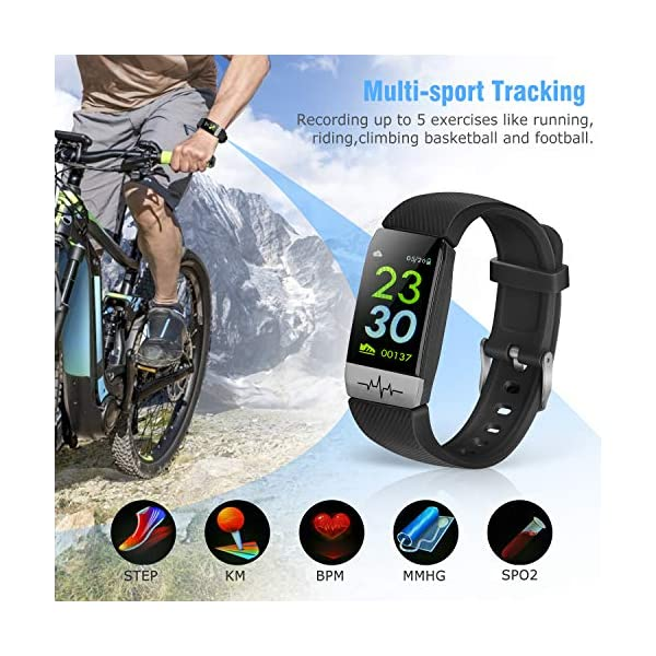 obqo Reloj Inteligente Pulsera Actividad Fitness Tracker con Pulsómetro,Monitor de Sueño de Presión Arterial,Podómetro,Contadores de Calorías IP67 Pulsera Deporte para Mujeres Hombres Android iOS 3