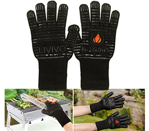 LIVIVO New BBQ Heat Resist Gloves Extreme Heat Resistant EN407 and EN388 certified - Thick, Light-weight & Flexible, 2 Gloves - Use in Dutch Oven, Fireplace Tools, Big Green Egg, Pizza Stone, Cast Iron Pan - Length: 33cm
