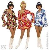 S58041b Kostüm 70er Jahre Kleid Hippie Verkleidung Größe S blau