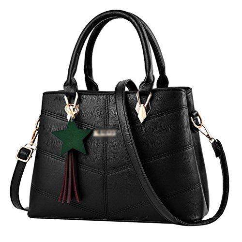 Baymate PU Leder Handtaschen Tasche Casual Umhängetaschen Schultertasche für Damen Schwarz