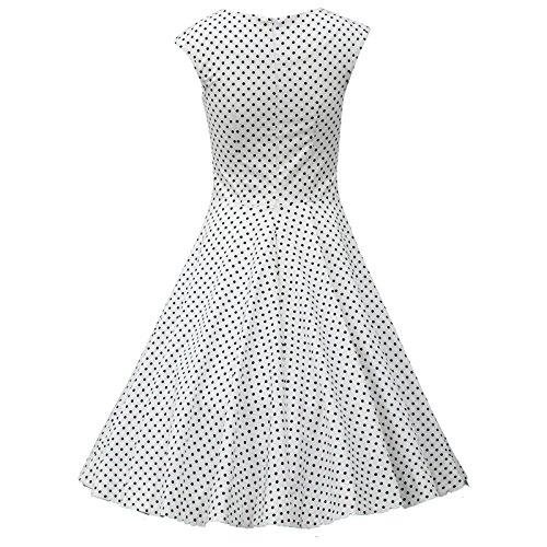 Oriention 1950s Vintage Rockabilly Kleid, Damen Elegant Ärmellos Abendkleid Retro Hausfrau Swing Festliches Cocktailkleider Partykleider Gr.36-50 Weiß(683)