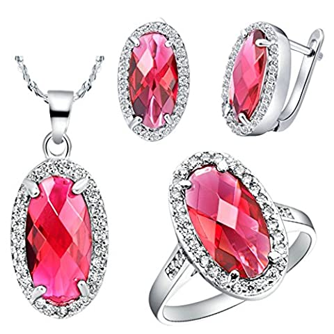 AnaZoz Jewelry Fashion Jewelry Sets for Women Austrian Crystal Silver Plated Egg Shape Necklace and Earrings and Ring Jewelry Sets Three Pieces Color Red Ring Size P