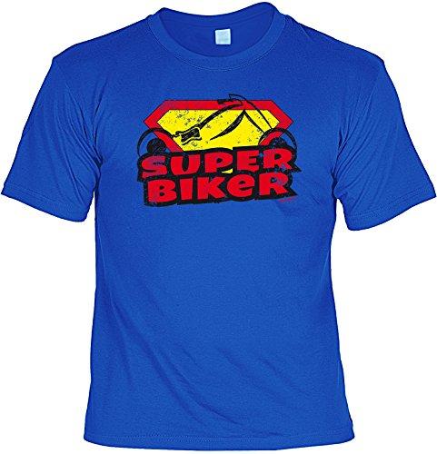 Herren Kurzarm Biker Motorrad Fun-T-Shirt für Zweirad-Fans als tolles Geschenk - Super Goodman Design® Gr: Farbe: royal-blau Royal-Blau