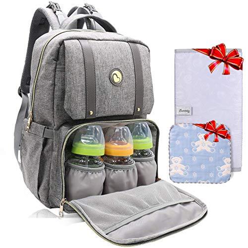 Baby Wickelrucksack Wickeltasche, Bamomby Mufti-funktionale Mama Rucksack wasserdicht für Mütter und Väter mit Wickelauflage und isolierte Taschen (grau)