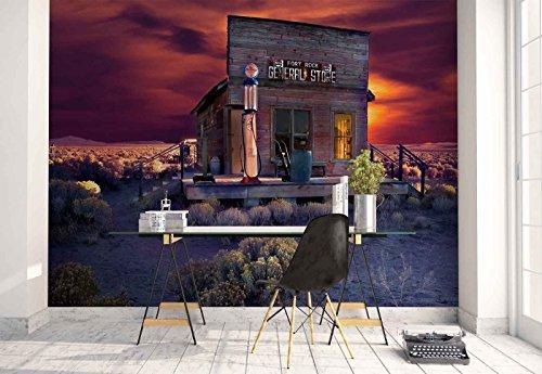 Vlies Fototapete Fotomural - Wandbild - Tapete - Ödland Bar Geschäft Sonnenuntergang - Thema Wüste - MUSTER - 104cm x 70.5cm (BxH) - 1 Teilig - Gedrückt auf 130gsm Vlies - 1X-723312VEM