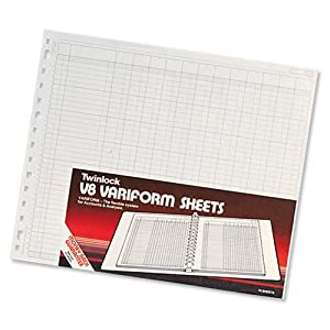 Rexel Twinlock Variform Multi-Ring Binder V8 Cash Refill Sheets 32 Columns, White (Pack of 75)
