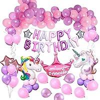 MMTX Decoraciones de Fiesta de Unicornio, con 2pcs Enorme Globo de Unicornio, Feliz Cumpleaños Ballon Banner, para niña Pequeña Fiesta de Cumpleaños de Dama de niño, Boda (Unicornio)
