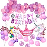 MMTX Einhorn Party Dekorationen Supplies, mit 2 Stück Geburtstag Mädchen Ballon, Alles Gute zum Geburtstag Ballon Banner Decko für Kleinkinder Mädchen Boy Lady Birthday Party, Hochzeit (48Stück)
