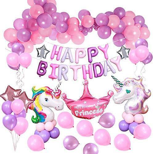 MMTX Einhorn Party Dekorationen Supplies, mit 2 Stück Geburtstag Mädchen Ballon, Alles Gute zum Geburtstag Ballon Banner Decko für Kleinkinder Mädchen Boy Lady Birthday Party, Hochzeit (48Stück) (Zum Ballons Geburtstag)