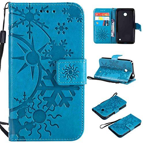 Ycloud Einzigartig PU Leder Tasche für Nokia Lumia 635 Wallet Flipcase mit Standfunktion Kartenfächer Entwurf Sternenhimmel Prägung Blau Hülle