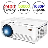 POYANK 2400 Lumen Beamer, Mini Beamer, Videobeamer unterstützt 1080P, Verbindung mit TV Stick PC Spielekonsole Laptop, Heimkino Beamer, Weiß.