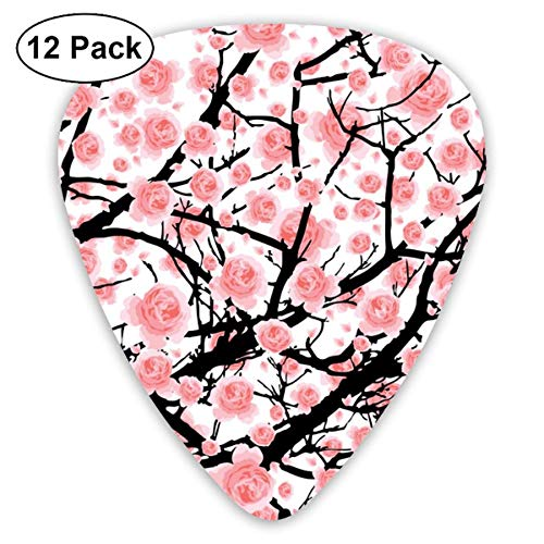 Sakura Tree Pink Cherry Blossom 351 Shape Classic Celluloid Guitar Pick For Electric Acoustic Mandolin Bass (12 Count) Basso Blossom