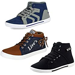 Bersache Men Combo Pack of 3 Casual Sneakers Shoes (8 UK, Multicolor)