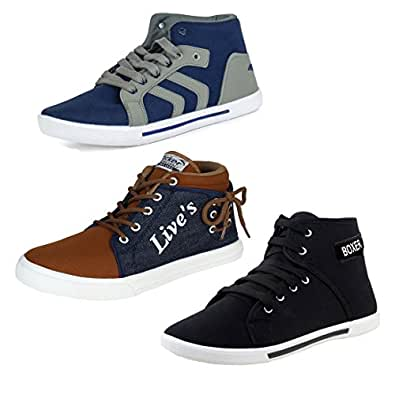 Bersache Men Combo Pack of 3 Casual Sneakers Shoes (10 UK, Multicolor)