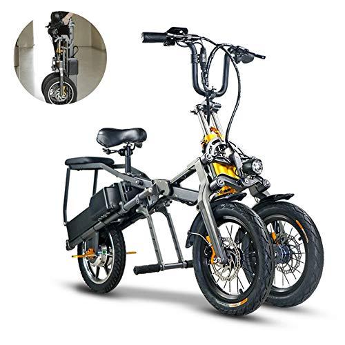 ZZQ Dreirädriges elektrisches Fahrrad mit Doppelbatterie EIN Knopf schnell zusammenklappbares Ebike mit 48 V 350 Wh Pedalen und Doppelbatterie, Mode Eltern-Kind-Reisen mit 14-Zoll-Rädern