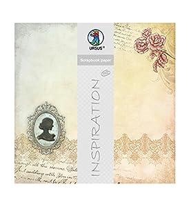 Ursus Papel para Scrapbook prémium Purpurina, Frozen en Time, Aprox. 30,5 x 30,5 cm, 5 Hojas, diseño