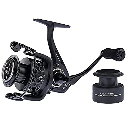 KastKing® Mela Spinning Reel - Light, Smooth, Powerful and Comes with a FREE Spare Spool - Great for Pike Carp Coarse Sea Game Match Predator Fishing (BLACK,