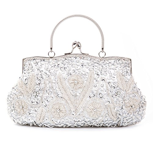 Damen Handgemachte Perle Handtasche, Abendtasche Damen Clutch Für Party, Hochzeit (Silber) (Braut-damen Handtasche)