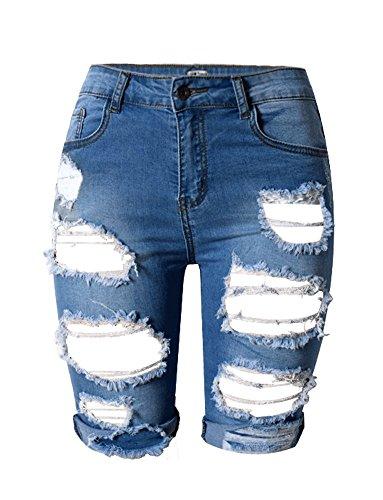 iRachel Damen Denim Stretch Jeans Hohe Taille Short kurze Hose Ripped Loch Hose Blau EU 46 (Jeans Taille-washed)