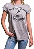 Oversize Damen Shirt weit geschnitten - Rock Musik - Vintage Longshirt Kurzarm locker lässig grau M