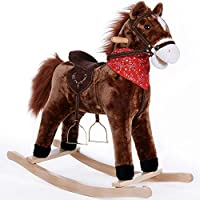 Deuba Rocking Horse Wooden Horse Unicorn Donkey Rocker Soft Plush Toddlers Kids Baby Children Toy