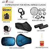 #1: AllExtreme 8 In 1 Combo Accessories Kit for Royal Enfield Classic 350 CC, 500 CC and Retro Street Models - Headlight Grill 8 Set Combo Pack, Leatherette Seat Cover, Handle Bar Grip Cover, Helmet/Baggage Holder, Buzzer, Liquid Wax Polish, Garage Cover and Disk Brake Lock Manufacturer: AllExtreme