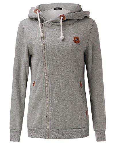 StyleDome Damen Sweatshirt Kapuzenpullover Hohe Kragen Pullover Sweater Sweatshirt mit Zip Hellgrau333977