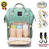 BRIGHTSHOW Baby Wickelrucksack Wickeltasche mit 2 Stück Lätzchen und 2 Stück Kinderwagen Haken Multifunktional Segeltuch Große Kapazität Babytasche Kein Formaldehyd Reisetasche für Unterwegs (Green)