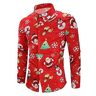 BaZhaHei-Navidad Hombres Casual Copos de Nieve Papá Noel Estampado Camisa de Navidad Top Blusa Camiseta de Papá Noel Estampada para Hombre Santa Candy Printed Christmas Shirt Top Blouse para Hombre