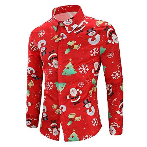 Piebo Herren Hemd Männer Casual Snowflakes Santa Candy Pedruckt Weihnachtshemd Hawaiihemd Freizeithemd Herrenhemden Langarm Shirt mit Stehkragen Langarmhemd Streetwear