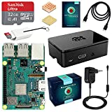 ABOX Raspberry Pi 3 Modello B+ (Plus) Starter Kit Barebone Madre con SanDisk Micro SD Card 32GB Class 10, Custodia e Power Supply 5V 3A con Interruttore (Raspberry pi 3B +32GB)