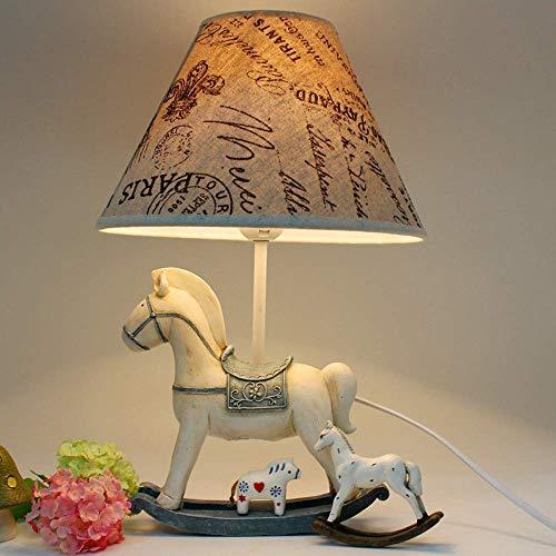 DWLXSH LED Side Nachttisch & Schreibtischlampe: Traditionelle Elegante neutrale Farbe & weiches Umgebungslicht für Cartoon Holzpferd Nachtlicht Tischbeleuchtung Schaukelpferd Schreibtischlampe (Nachttisch Traditionellen)