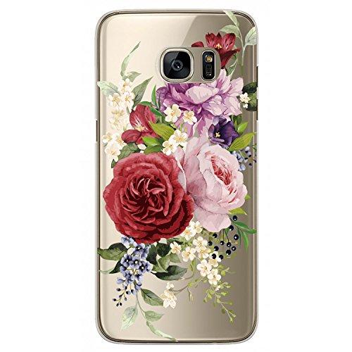 RXKEJI Galaxy S7 Edge Hülle, Handyhülle TPU Silikon Weiche Clear Ultra Dünn Schlank Durchsichtige Schutzhülle Transparent Flexibel Case Handy Hülle für Samsung Galaxy S7 Edge - Red Purple Flower