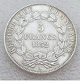 Bespoke Souvenirs Rare Antique Ancient European French France 1852 A Louis Napoleon Bonaparte 5 Francs Silver Color Coin Seltene Münze