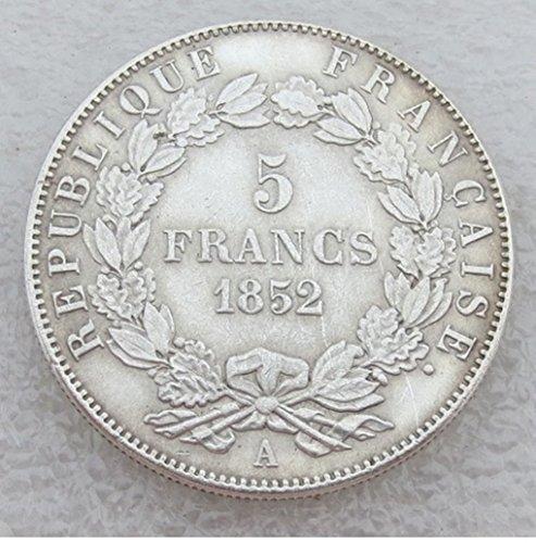 Bespoke Souvenirs Rare Antique Ancient European French France 1852 A Louis Napoleon Bonaparte 5 Francs Silver Color Coin Seltene Münze -