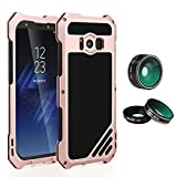 TAITOU Galaxy S7 Camera Case, Macro Wide Angle Fisheye Lens Splash Jawp Dust/Waterproof Metal Cover, New Cool Capture Lens Camera Photographers Protect Phone Case for Samsung Galaxy S7 Rosegold